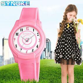 SYNOKE New Children's Waterproof Sports Watch Plastic Strap Anti-Shock Kids Quartz Watches Thin Quartz Wristwatch For Boy girl