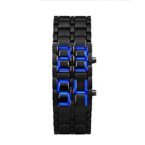 Fashion Men Watch Mens Watches Style Iron Black Bracelet Japanese Inspired Wrist Watch Blue LED Sport Watches relogio masculino