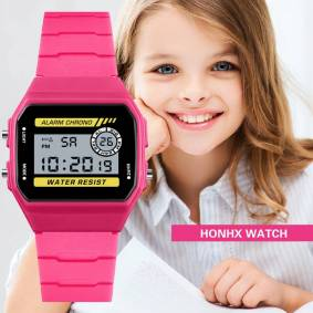 2019 Hot sell HONHX Waterproof Children Boys Luxury Analog Digital Sport LED Waterproof Luminous Wrist Watch Casual reloj Gift