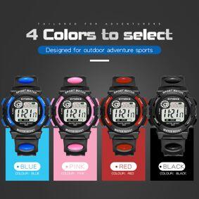 Waterproof Children Boys Multi-Function 30M Waterproof Watch LED Digital Double Action Watch Kids Alarm Date Electronic Watch Q