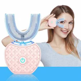 VIP 360 Degree Lazy Automatic Electric Toothbrush SiliconTooth Whitening Blue Light USB U Type 4 Modes Cleaning Brush Oral Care