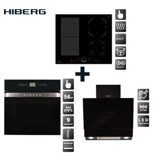 Set: Induction hob HIBERG i-MS 6049 B + electric oven HIBERG VM 6495 B + fireplace hoodHIBERG VB 6090 B