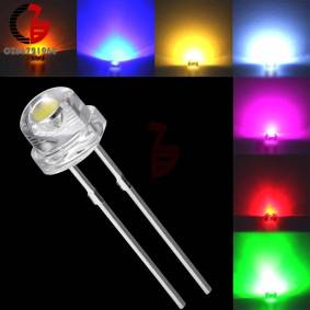 100Pcs 5mm Diode Straw Hat White Red Green Blue Yellow Purple Smd Smt Led Clear Super Bright Wide Angle Bulb 20000mcd Lamp