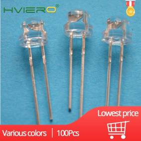 100Pcs Min 5mm Emitting Diode Straw Hat White Red Green Blue YellowPink Smd Smt Led Water Clear Bright Wide Angle Bulb DIY Light