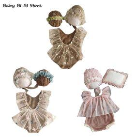 4Pcs Newborn Photography Props Suit Lace Romper Hat Pillow Headband Set Outfits