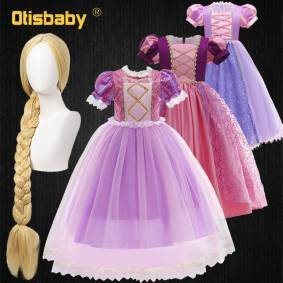 Princess Christmas Fancy Girls Tangled Princess Rapunzel Dress up Gown Prom Children Lace Floral Sequin Kids Sofia Birthday Party Dress