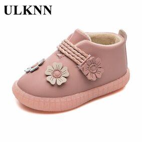 ULKNN Cotton-padded Boots For Children Girls Flower Princess Shoes Autumn Winter Plus Velvet Warm Kids Pink Outdoor Footwears