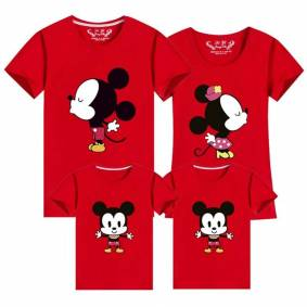 Family Matching Outfits Mickey Short-sleeved T-shirt Mother And Daughter Clothes Mouse Father Son Baby Kids Tshirt Mommy And Me