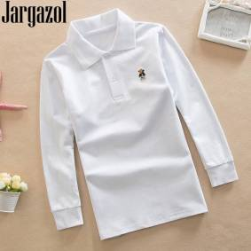 Jargazol Autumn Boys Shirts Long Sleeve Polo Shirt Teenagers School Tops Little Kids Clothes Fashion Outfits Cartoon Embroidery