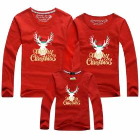 Family Look T-shirts Christmas Elk Claus Reindeer Elk Print Tees Red Top 2020 Christmas Family Matching Clothes Full Sleeve
