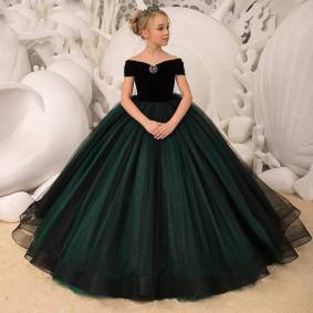 Kids Dresses Girl Elegant Long Prom Green Tulle Gowns 2020 New Children Graduation Dress Teen Wedding Bridesmaid Robe