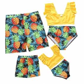 Family Matching Swimwear Beachwear Mommy And Me Swimsuit Mother Daughter Father Son Clothes High Waist Bikini