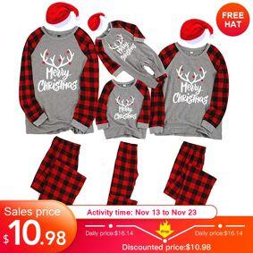 Family Christmas Pajamas 2020 Cotton New Christmas Pajamas Pyjamas Kids Sleepwear Family Outfits Men Xmas Pajamas Set Pyjamas
