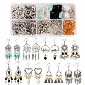1 Box Boho Earrings Making Materials Set Mixed Connector Beads Earring Hooks Jump Ring Pin Sets For Jewelry DIY Findings Kit