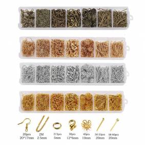 420Pcs Jewelry Making Sets Head Pins Lobster Clasps Chains Jump Rings Earrings Clasps Hooks For DIY Jewelry Making Accessories