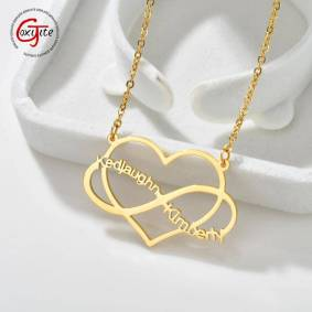 Goxijite Trendy Name Heart Necklace For Women Double Name Infinite Love Hearts For Couple Lover Necklaces Jewelry Gift