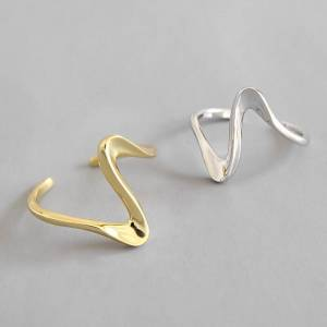 925 Sterling Silver Open Rings Korean Twisted wave silver Gold Color anel Finger Ring For Women Statement Adjustable