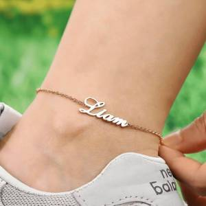 Custom Name Anklet Stainless Steel Foot Chain Personalize Anklets for Women Female Ankle Bracelet Fashion Leg Jewelry Gift Girls