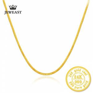 Pure HMSS 24k Gold Pure Yellow Necklace Fashion Snake Bone Chain Au 999 Female And Male Wedding Gift Exquisite Jewelry Hot Sale