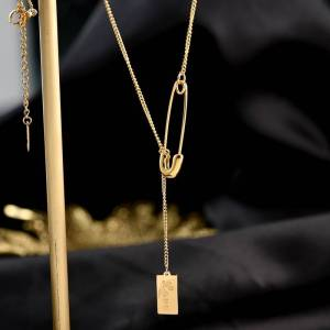 Vnox Chic Pin Style Pendant Necklaces for Women Lady Personalized Love Custom Exquisite Gifts for Her Choker Collar Jewelry