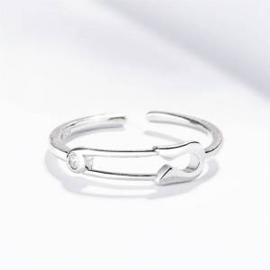 Sole Memory Simple Personality Mini Pin Creative Cute 925 Sterling Silver Female Resizable Opening Rings SRI486