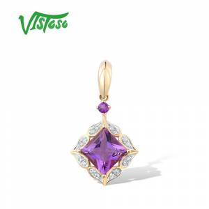 Pure VISTOSO Pure 14K Yellow Gold Pendant For Lady limpid Amethyst Shiny Diamond Elegant Wedding Anniversary Party Gifts Fine Jewelry