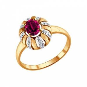 Sokolov ring in gold with diamonds and Ruby, fashion jewelry, 585, women's male