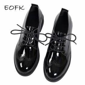 EOFK Women Oxford Flats Autumn Spring Brogue Leather Shoes Woman Full Black Office Female Derby Shoes Ladies