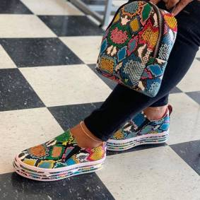 Shoes And Bags INS HOT Colorful Snake Printed Vulcanized Loafers Female Sneakers Fashion 2020 Women Footwear
