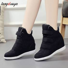 Fashion Platform Shoes Woman Ankle Boots Hidden Wedges Comfort Sneakers Female Flock Casual Shoes Chaussure Femme 2019 women