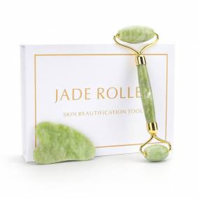 Natural Xiuyu Jade Facial Eye Massage Roller Guasha Scraping Board Green Jade Stone Face Lift Body Slim Thin Lift Roller Tool