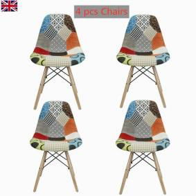 Set of 4 Dining Tub Chairs Armchair Patchwork Fabric Wood Legs Home Office Lounge