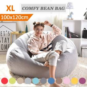 100x120cm BeanBag Sofas Lazy Cover Chairs without Filler Linen Cloth Lounger Seat Bean Bag Pouf Puff Couch Tatami Living Room