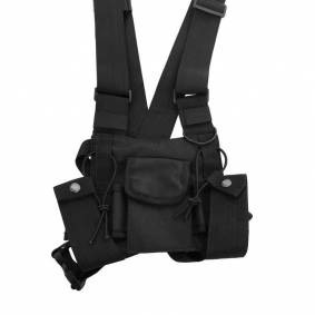 Tactical Vest Nylon Military Vest Chest Pack Pouch Holster Tactical Harness Walkie Talkie Radio Waist Pack for Two Way Radio -