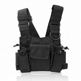 Tactical Vest Nylon Military Vest Chest Pack Pouch Holster Tactical Harness Walkie Talkie Radio Waist Pack For Two Way Radio
