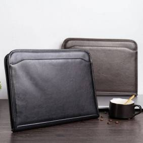 A4 Multi-function Leather Document Organizer File Folder with Calculator,Padfolio Portfolio for Documents