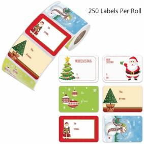 250pcs 6 Designs Adhesive Christmas Gift Name Tags XMAS Stickers Present Seal Labels Christmas Decals Gift Package Decor