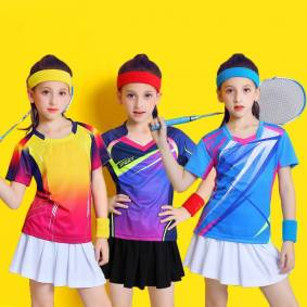 Kid Badminton Suit Short sleeve Girls Tennis Shirt Skirtt Sets Girl Ping Pong Clothes Child Volleyball Kits Sportswear Clothing