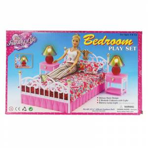 Miniature Furniture Bedroom Play set for Barbie Doll House Accessories with Bedside Lamp Interesting Classic Gift Toys for Girl