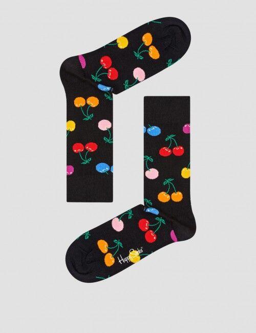 Happy Socks, Cherry Sock, Svart, Strømper/sokker för Unisex, 36-40 36-40 Svart