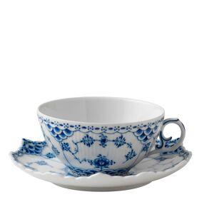 Royal Copenhagen Blue Fluted Full Lace Tekopp med fat 22 cl