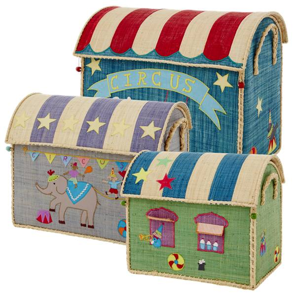Rice - Large Set of 3 Toy Baskets - Circus Theme