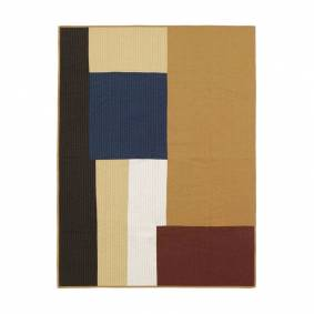 Ferm Living Shay Patchwork Quilt Blanket Mustard - Ferm Living    1800 mm+1300 mm
