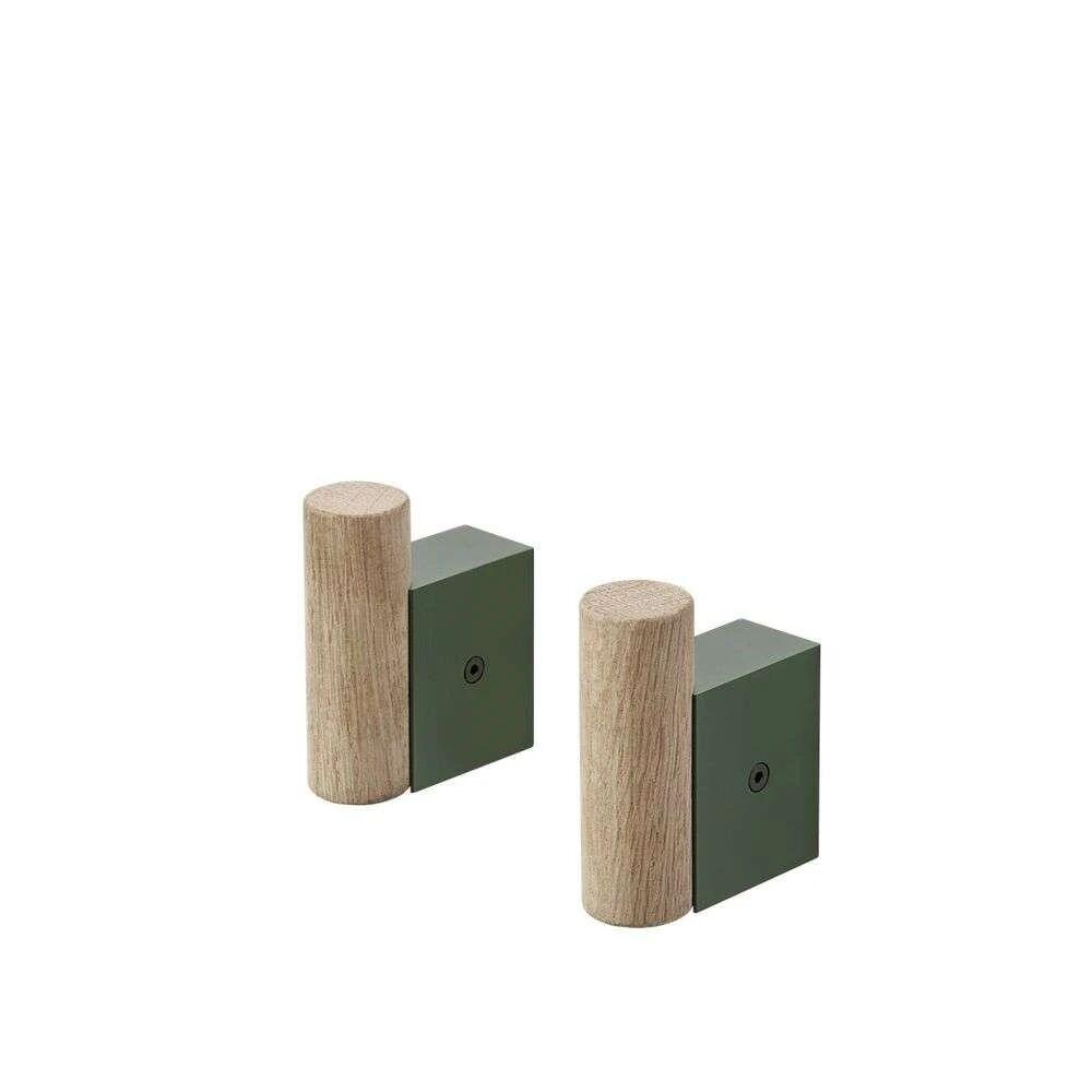 Muuto Attach Coat Hook Oak/Dark Green - Muuto