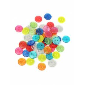 Newchic 50pcs Mixed Color Glitter Sparkly Resin Buttons - Silver Gold Green Mixed Sewing DIY Craft Buttons