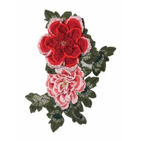 Newchic DIY 3D Red Big Peony Lace Embroidery Applique Pacthes Clothes Bags Handmade Craft