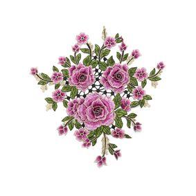 Newchic 3Pcs 3D Flower Embroidery Lace Applique Patches Cord Scrapbooking Motif Venise