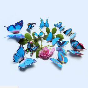 Newchic 12Pcs 3D Blue Colorful Butterfly Wall Sticker Chrismas Home Decor Art Applique