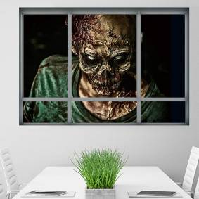 Newchic Halloween 3D Horrible Zombie Fake Windows Sticker Bedroom Living Room Haunted House Decor Ghost Wall
