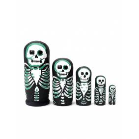 Newchic 5Pcs Painted Wooden Nesting Russian Dolls Penguins Skeleton